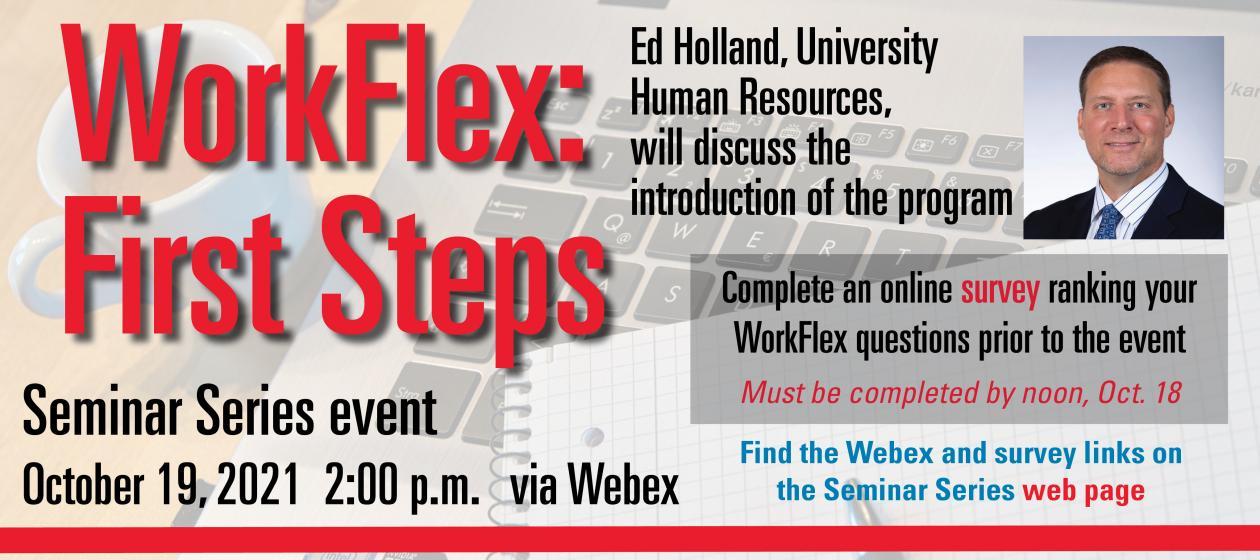 Seminar Series event - WorkFlex First Steps Oct. 19 UPDATED